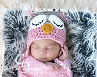 PATTERN: Owl hat, size newborn to adult, easy crochet PDF InStant DigiTaL DowNLoaD, sleepy or awake eyes, Permission to Sell