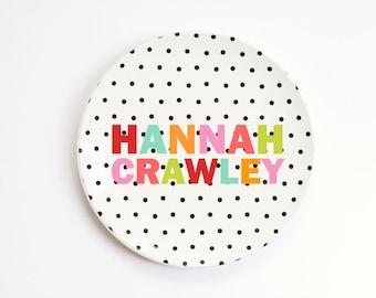 Personalized Melamine Plate for Kids Plate Custom Girls Polka Dot Plate Birthday Plate Baby Gift Kids Dinnerware ThermoSāf ® Polymer Plate