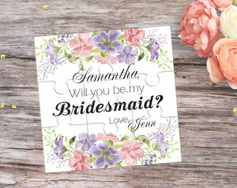 Will You Be My Bridesmaid Flower Puzzle Invitation Will You be my Flowergirl Proposal Gift Will You be my Maid of Honor Invitation