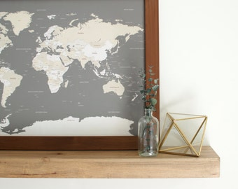 World Map, Push Pin Travel Map, World Map Wedding, Travel Map, Push Pin Map, Travel Gifts, Gift for Men, Gift for Parents, Father's Day Gift