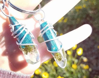 Blueberry Kush - Blue Wrapped Cannabis Gemstone - Weed Resin Keychain - MMJ - Medical Grade - Hemp Product