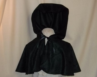 Black Hooded Capelet- Suede Costume Cape