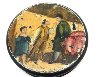 Snuff Box,Paper Mache Snuff Box Collectible, Lacquer, Birmingham, England, 1800s
