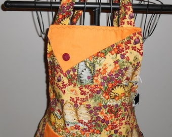Cats, Beehives and Flowers - Women's Apron - Ruffle - Pocket - Animal - Pets - Bee Keeper - Cat Lover - Flowers