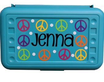 BACK TO SCHOOL - Personalized Pencil Box / Art Supply Box - Peace