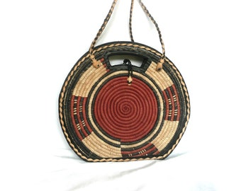 Woven straw handbag - circular woven straw bag - woven straw and tooled leather purse - straw and leather shoulder bag