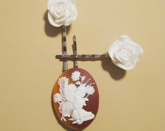Brown Fairy Cameo and White Rose Bobby Pin Set