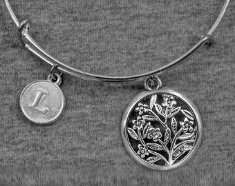 Flower Bracelet -Floral Charm Bangle -Expandable Bangle -Initial Charms Bracelet -Your Choice of A to Z