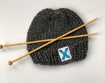 Toddler knit grey beanie with Monogram letter X hat