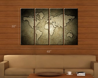 Framed Huge 4 Panel Stone World Map Giclee Canvas Print - Ready to Hang