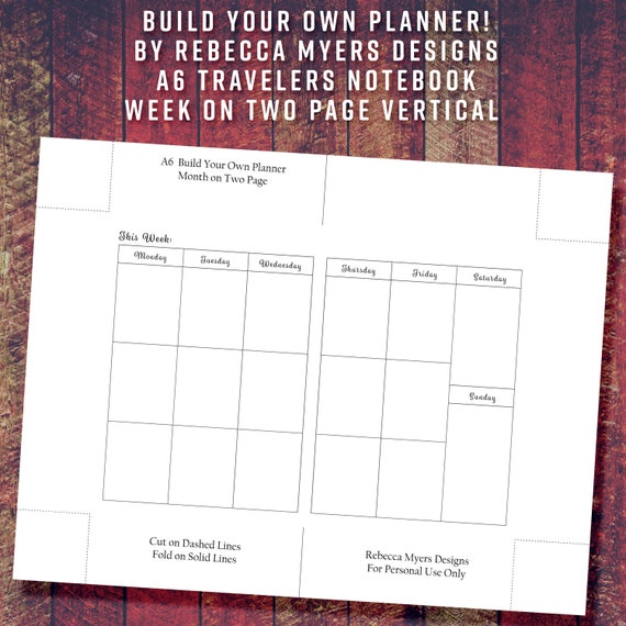 A6 Build Your Own Planner Insert Week On Two Page Vertical