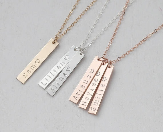 Personalized Vertical Bar Necklace Vertical Name Bar
