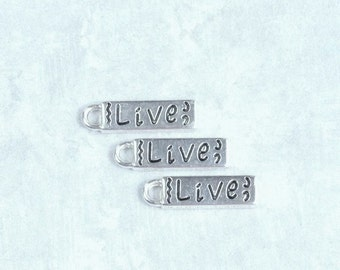 Live Charm Message Charm DIY Jewelry Silver Charm Word Charm Survivor Charm Accent Charm