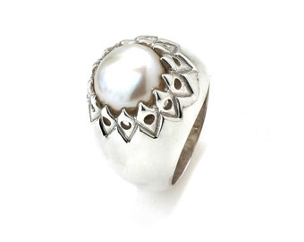 White Pearl Ring,Fresh Water Pearl 925 Sterling Silver Ring,Round Pearl  Handmade Solid Silver Ring Jewellery FREE Jewelry Polishing cloth