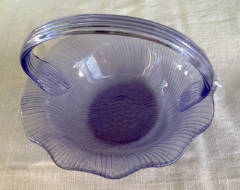 Blue Periwinkle Glass Bride's Basket Bowl with Handle