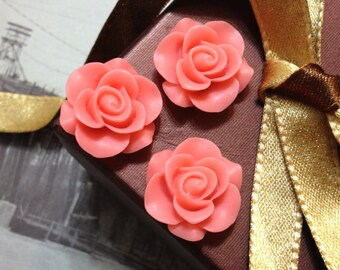 21 mm Rose Resin Flower Cabochons of Different Colors (.gm)