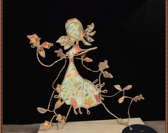 fall decoration, figurines string and paper, sculptures OOAK, autumn decoration, Etlabobinettecherra, handmade French, poetic birthday gift