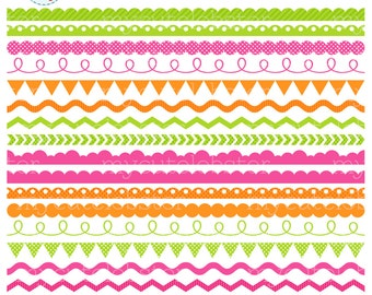 Borders Clipart Set - green, pink, orange - clip art set of borders, pennant, scallop - personal use, small commercial use, instant download