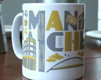 Typographic Manchester mug