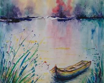 BOAT Watercolor River painting Watercolor landscape painting River Watercolor Original Boat painting Sunrise Watercolor Nature painting