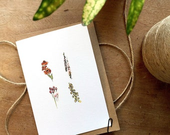 Watercolour Illustrated Flowers Blank Card