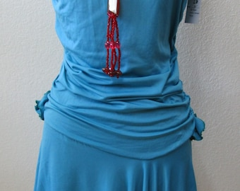 Turquoise Tube Dress with rose decoration in the front side plus made in USA (v71)