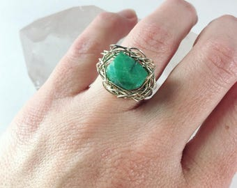 Chrysoprase Wire Wrapped Ring, Sterling Silver Ring, basket ring, boho