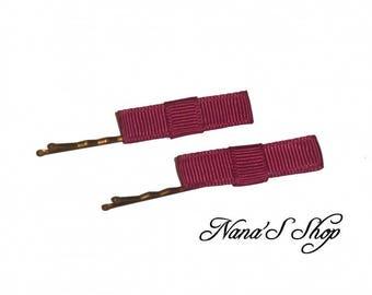 Set of 2 hair pins, Burgundy bow