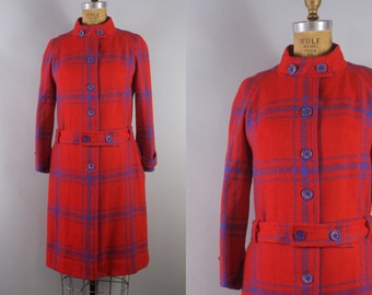 1960s Plaid Coat with Belt/ 60s Plaid Coat / Red Blue Plaid Coat