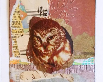 Owl Postcard, Collage Postcard with sheet music, stitching, Owl Art, 4x6 inches on paper, Free US Shipping