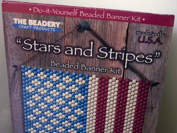 Stars and stripes large beaded banner decor usa flag the beadery sold by dazzledbyvintage solutioingenieria Image collections