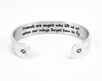 "Best Friend / Soul Sisters Gift / Recovery ~ Friends are angels who lift us up when our wings forget how to fly ~ 1/2"" hidden message cuff"