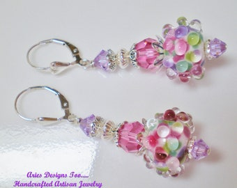 Violet , Pink  and Green Abstract Bubble Bead Earrings,