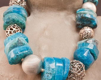 Turquoise Agate Necklace - Turquoise Jewelry - Silver - Chunky Jewelry