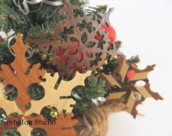 Wooden Snowflake,Snowflakes Ornament Star ,Garland , Snowflakes, Decorations Christmas Yule Hanukkah Grahtoe