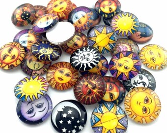 50 pcs Glass Cabochons - Sun and Moon