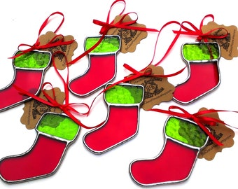 Stocking Christmas Ornament Stained Glass Christmas Stocking Christmas Tree Ornament Red and Green Christmas Stocking Stuffer Glass Ornament
