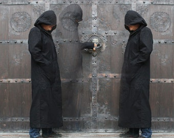 Crusader Coat with Hood ~ black assassin dystopian apocalyptic