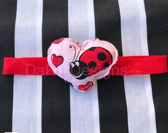 Baby headband, valentines heart, valentines headband, heart headband, ladybug, ladybug headband