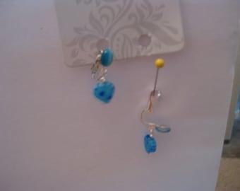 Clip on earrings blue cats eye in silver