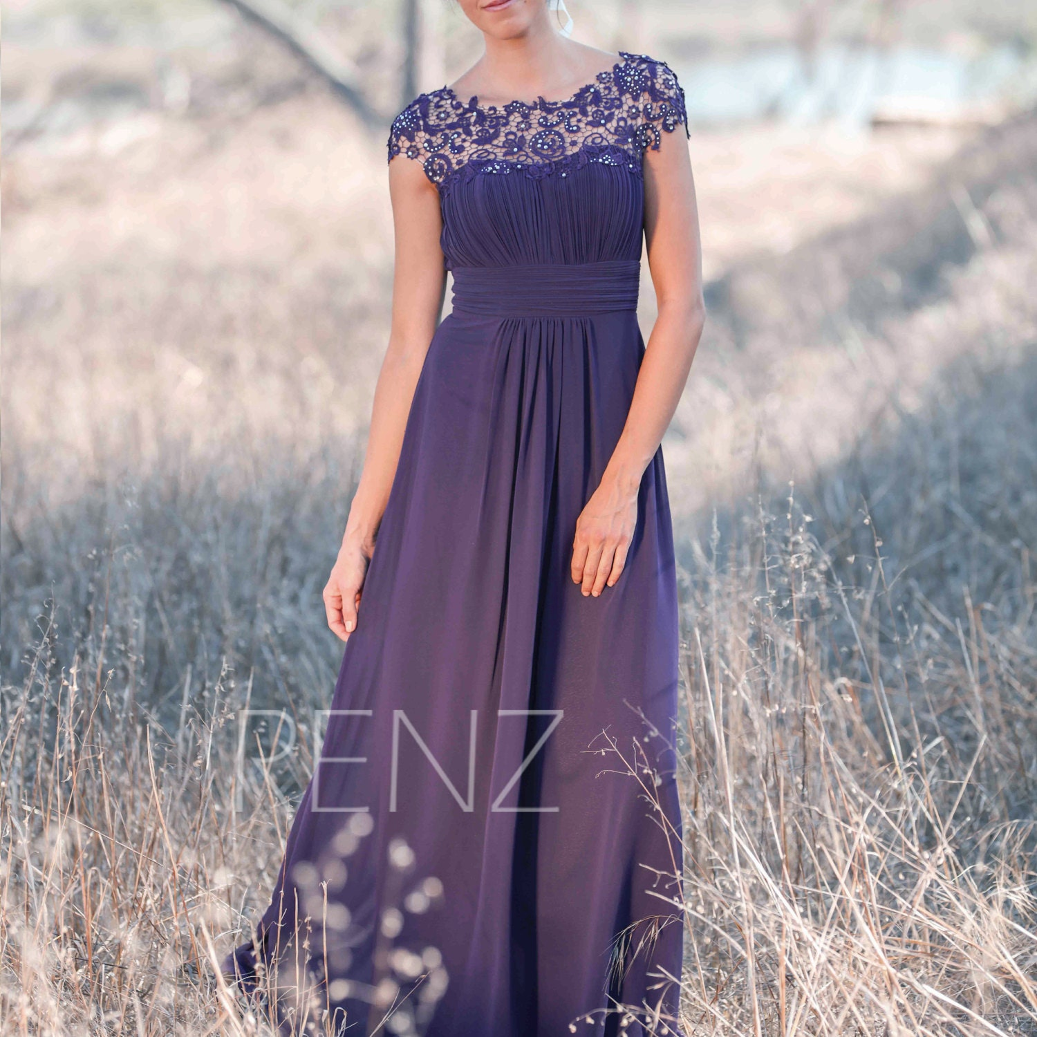 Bridesmaid Dress Bright Purple Illusion Lace Wedding