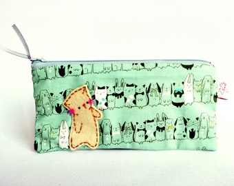 green cat pencil case cute fabric pencil case Cute cat cosmetic make up pouch School supply cat lover gift cat lady gift