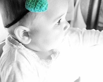 6 to 12m Baby Green Heart Headband, Crochet Heart Baby Girl Prop, Baby Headband, Love Heart Hairband Green Black Plush Skinny Headband Gift