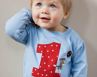 Personalized Sock Monkey Kids Birthday Shirt