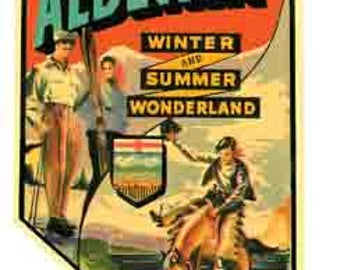 Vintage Style Alberta  Canada  Travel Decal sticker