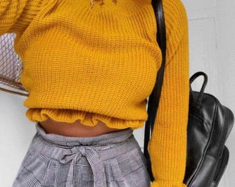 Melissa - Mustard, knitted, polo neck cropped jumper
