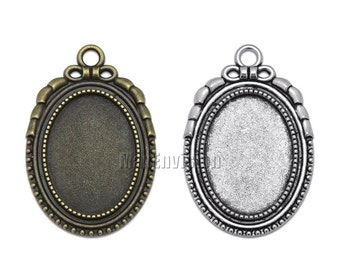 18x25mm Oval Pendant Tray Pendant Blank Base Stepped Edge Cameo Cabochon Base Setting fit 18x25mm Oval Cabochons 20 PCS M070