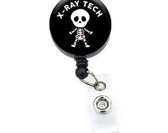 Xray Tech Badge Reel// Retractable Badge Holder// Radiology// Skeleton (Black)
