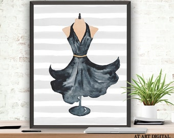 Dress Print, Fashion Print, Summer Dress, Dress Illustration, Watercolor Dress, Watercolor Fashion, Dress Art, Fashion Printable