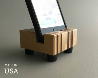 iPhone Stands Wood, Wooden iPhone Stand, iPhone 6 Stands, Cool Modern iPhone Stands For Desk, iPhone Desk Stands, Made in USA